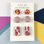 3 pack of handcrafted polymer clay stud earrings in lilac and pink