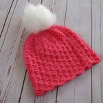 Crochet watermelon pink beanie with detachable white fluffy pompom, 1-5 yrs gift