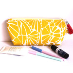 Makeup bag zippered pouch in citrus and white fabric