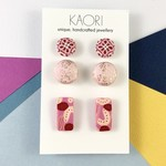 3 pack of handcrafted polymer clay stud earrings in pink red gold leaf