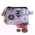 Grey scandinavian printed coin pouch or purse