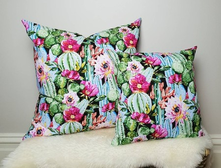 "Watercolour Cactus cushion cover, 26"", tropical decor, cacti print, watercolour"