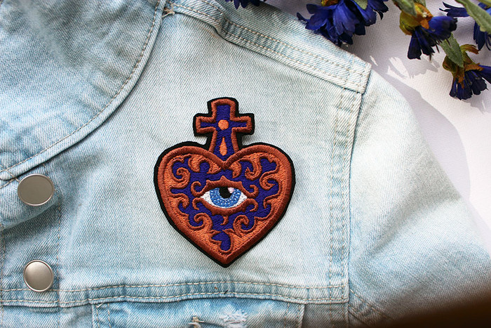 Sacred Heart Evil Eye Embroidered and Iron on Patch   PatchHaven on