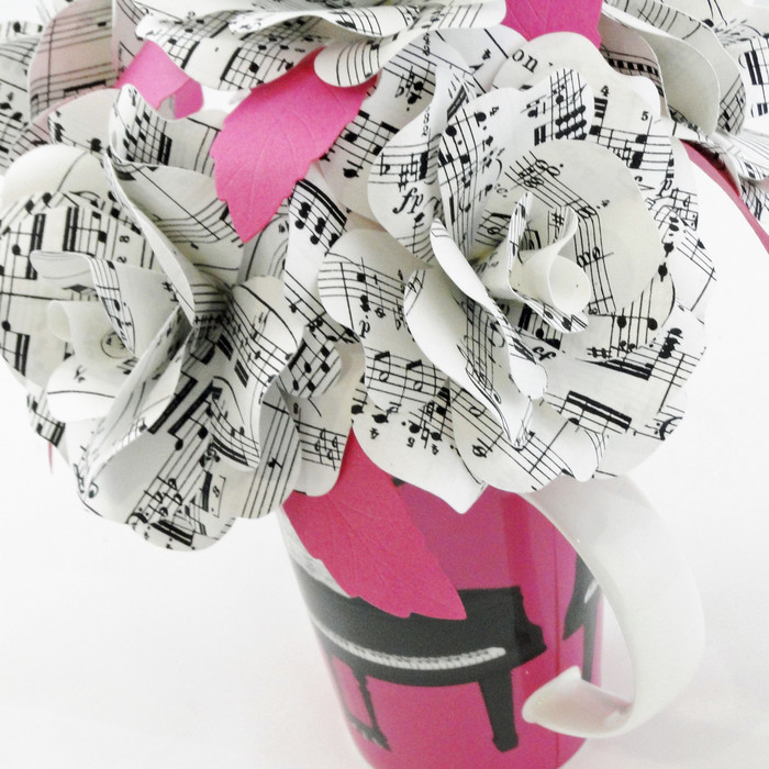Music Sheet Paper Flowers Pink Expressionisto Madeit