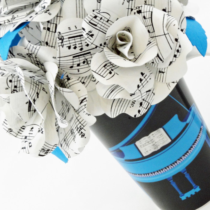 Music Sheet Paper Flowers Blue Expressionisto Madeit