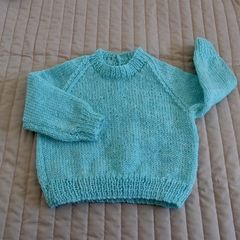Size 0-6months hand knitted jumper; unisex, washable