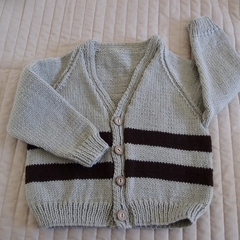 Size 3-4 yrs hand knitted cardigan; boy, washable