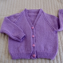 Size 4-5 yrs : hand knitted cardigan; girl, washable