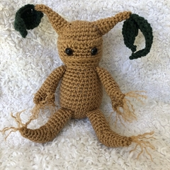 MADE TO ORDER Crocheted Mandrake & Leaves - Plant, HP, Amigurumi, Plushie, Geek