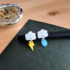 Rain Cloud x Thunder Earrings - Hand-painted Kawaii Pop Studs