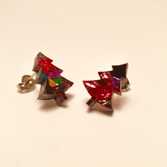 Christmas trees laser cut acrylic studs - Rainbow Christmas tree earrings