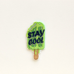 Green Popsicle Stay Cool Embroidered and Iron on Patch