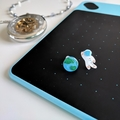 Astronaut x Earth Stud Earrings (Space Theme) - Hand-painted Kawaii Pop Studs