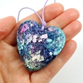 Alcohol Ink and Resin Heart Necklace