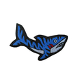 Tiger Shark Embroidered Patch. Iron on patch, shark patch, fashion patch, jacket