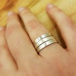 3 thin silver rings,  made to your size with your choice of texture - custom