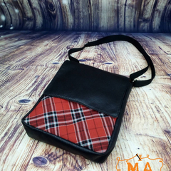 Punk Red & Black Tartan And Faux Leather Cross Body Satchel