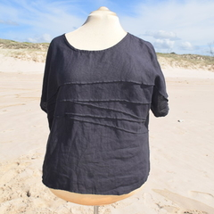 """Linen Blouse/Top """" - Wave formation Black"""" by Bramble and Ivy."""