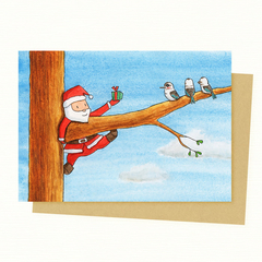 Santa & Kookaburra Christmas Card, Australian Animals Christmas Card, Christmas