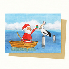 Santa & Pelican Christmas Card, Pelican, Australian Animal Christmas card, Austr