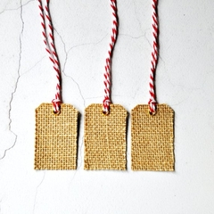 Mid Burlap Tags {10} Blank w Ties | Christmas Gift Tags | Plain Holiday Tags