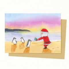 Santa & Penguin Christmas Card,  Australian Animal Christmas Card, Australia