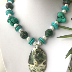 Genuine and Stab. TURQUOISE, RUBY in ZOISITE and JASPER Pendant Pearl Necklace.