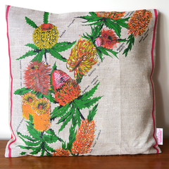 Vintage Retro Australian Banksias Wildflowers Cushion