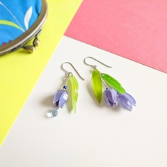 Australian Bluebell Drop Earrings (Purple) - Handmade Kawaii Flowers