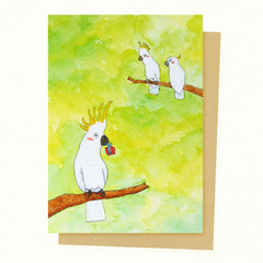 Cockatoo Christmas Card, Gift Card, Valentines Day Card, Birthday Card
