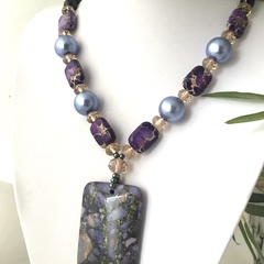 Genuine Sea Sediment JASPER and Shell PEARL, Purple Pendant & Necklace.