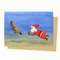 Santa & Platypus Christmas Card, Australian Christmas Card, Australian Animals C
