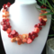 Orange and Red  Genuine CORAL Drops, Colorful Choker Necklace.