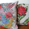 Vintage Retro Australian Banksia Wildflowers Linen Cushion