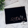 Personalised Large Black Cosmetic Makeup Bag or Clutch with Sparkle. 4 colours