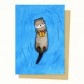 Cute Otter Christmas Card, Gift Card, Valentines Card, Birthday Card