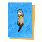 Cute Otter Gift Card, Mother's Day Gift Card, Valentines Card, Birthday Card