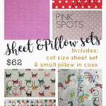 Kindy Sheet and Pillow Set 'PINK SPOT'