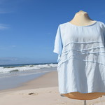 """Linen Blouse/Top """" - Wave formation light blue"""" by Bramble and Ivy."""
