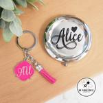Jewelled Mirror Compact Personalised * Xmas Gift Idea * Teacher * Kris Kringle