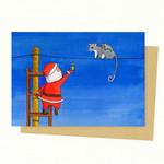 Santa & Possum Christmas Card, Australian Animals Christmas, Santa