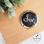 Black Jewelled Mirror Compact Personalised * Xmas Gift * Teacher * Kris Kringle