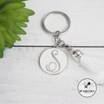 Silver & Enamel Circle Monogram Key Ring  * Xmas Gift * Teacher * Kris Kringle