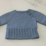 Newborn Baby Jumper , Blue , Merino Wool, Hand Knit