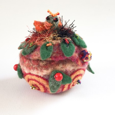 Unique  round embellished felt trinket box. Red and green. Bird in nest. Beads.