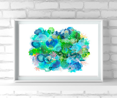 'In the Reef 2'. Large A3 Reproduction Art PRINT of my mixed media painting