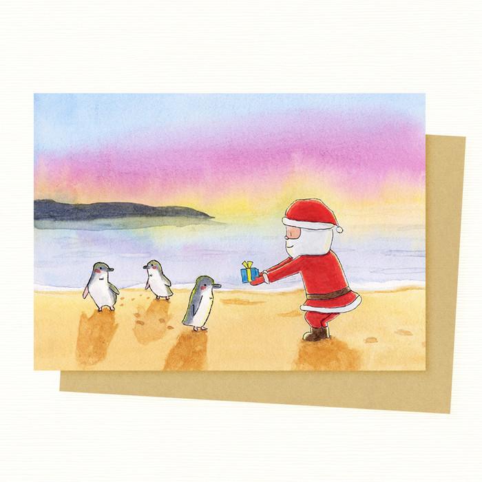 Christmas In Australia Santa.Santa Penguin Christmas Card Australian Animal Christmas