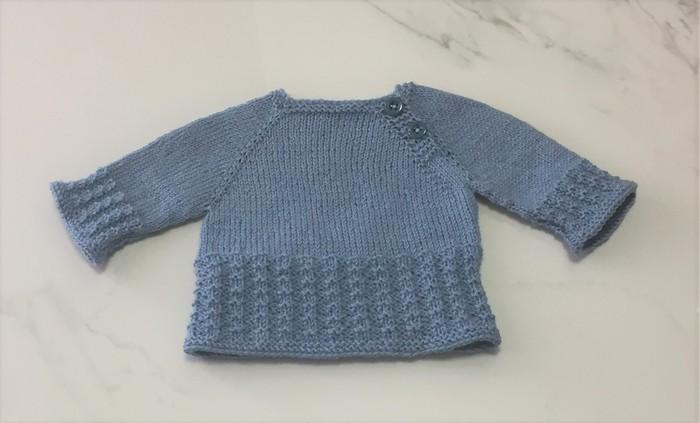 3e21b0e49 0-3 mths Baby Jumper , Blue , Merino Wool, Hand Knit | Made For Little Ones  | madeit.com.au