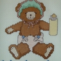 Cross stitched baby bear
