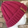 Pink beanie ladies winter hat knitted
